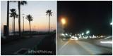 夕暮れ、海沿いを走る